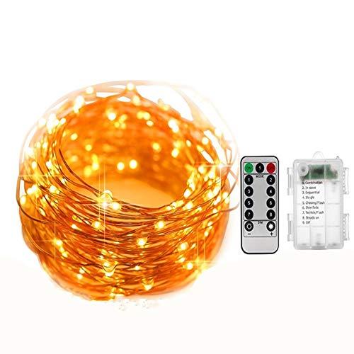 Mondeer Beleuchtete Girlande, 10M 100LED Girlanden Beleuchtet Wasserdichte Außenbatterien/Innenbeleuchtungs-Dekorative LED-Girlande, 8 Modi, Timer-Funktion (Warmes Weiß)