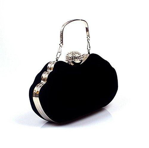 Damen Taschen Clutch Kleid Abend Party Hochzeit Samtschulter Handtasche black