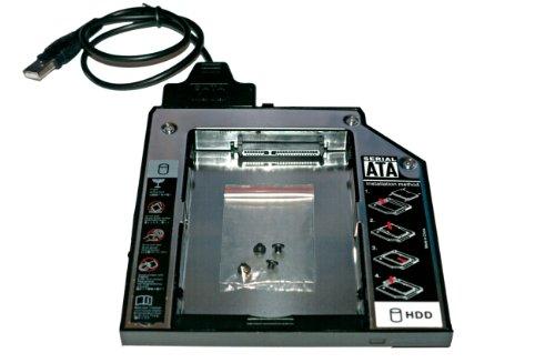 HDD/SSD Ultrabay Enhanced SATA III Module + USB-SATA-Kabel für Lenovo ThinkPad R400, R500, T420, T420i, T430, T510, T510i, T520, T530, W510, W520, W530, W700 - 2nd HDD Festplattenrahmen Adapter Caddy 12.7 mm (SATA auf SATA) - TheNatural2020 -