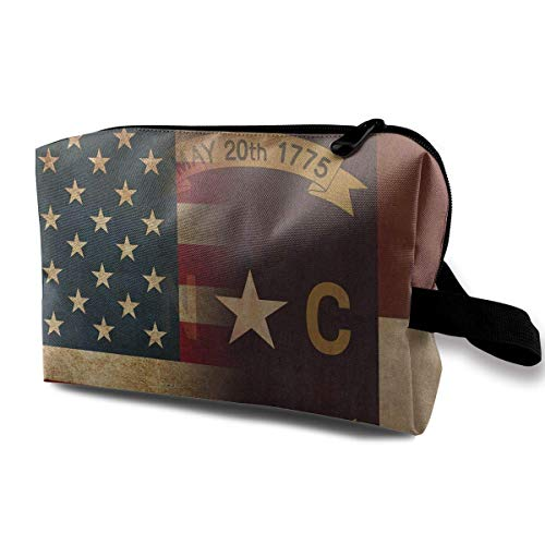 USA North Carolina Flag Art Small Cosmetic Bags Travel Makeup Bag Fashionable Organizer For Women Girls -
