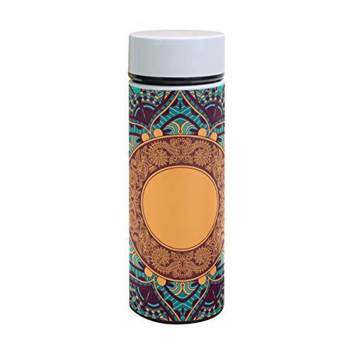 EZIOLY Hippie Henna Floral Vakuumisolierte Edelstahl-Tasse Wasserflasche Reise Kaffee Thermos 350 ml