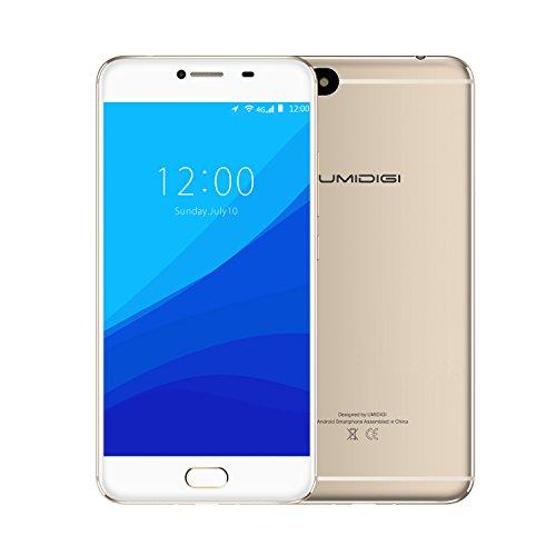 UMIDIGI C NOTE Telefonos Moviles Libres - Dual Sim Smartphone Barato , ROM de 3GB RAM + 32GB, MTK6737T Quad Core 1.5Ghz, Cámara de 13MP/5MP, Batería 3800mAh, Huellas Dactilare, GPS, Android 7.0, (Dorado)