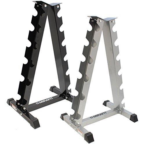 MiraFit - Support vertical pour haltères - Noir ou argent