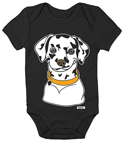 HARIZ Baby Body Kurzarm Dalmatiner Tiere Zoo Plus Geschenkkarten Pinguin Schwarz 18-24 Monate (Baby Mädchen Dalmatiner Kostüm)