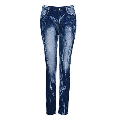 LHWY Jeans Donna Denim Strappato Pantaloni A Matita Stretch Cotone Magro Pantaloni Slim Blue