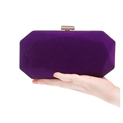 NAOMIIII Frauen-Elegante Damen-Abend-Brautpartei-Hochzeits-Samt-Oktangle-Schulter-Handtasche Purple