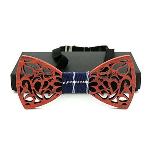 Song Classic Men Hollow Wood Bow Ties for Wedding Suits Wooden Bowknots Bow Tie(Red)