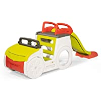 Smoby Outdoor Equipment Adventure Car, Removable Sandpit with Lid and a 1.5m Slide for Imaginative, Sensory and Active Play, Colourful