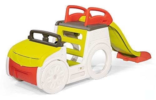 Smoby 840205 - Abenteuer-Spielauto, Outdoor-Auto für Kinder inklusive Kinder-Rutsche, Klettergerüst und Sandkasten