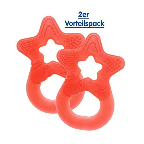 Dentistar Beißstern - 2er Set Beißring - Zahnungshilfe - BPA frei - ab 3 Monaten - Made in Germany | Koralle Rot