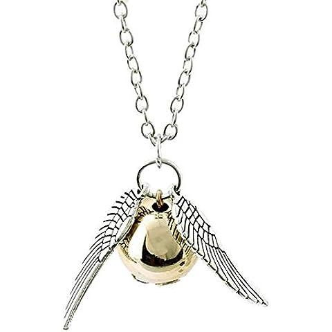 Collana Boccino d'oro Ali d'argento della saga HARRY POTTER - Quidditch Hogwarts Grifondoro HIGH QUALITY - collane