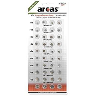 Arcas Alkaline Button Cell Batteries, 40 pieces