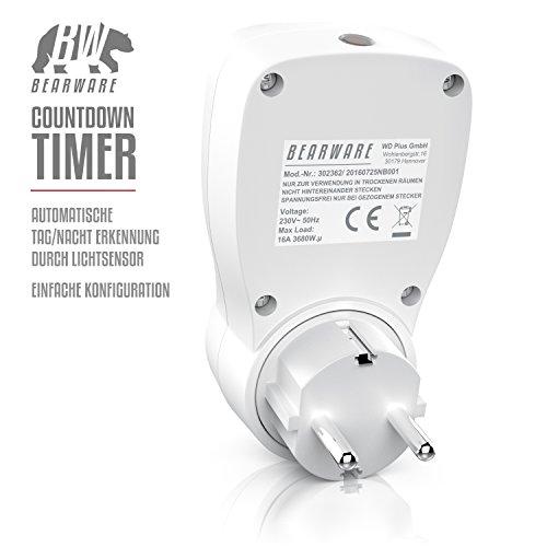 CSL – Countdown Timer inkl. Lichtsensor | 3680W | Countdown Zähler für die Steckdose | Tag/Nacht-Erkennung | 3 Betriebsmodi On/Off/Timer | Kindersicherung | energieeffizient - 2