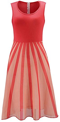 Jeansian Femme Ete Vetement Sexy Sans Manches Women's Sleeveless Gauze Pleated Dress Summer Cocktail Evening Party Dresses WHS205 red