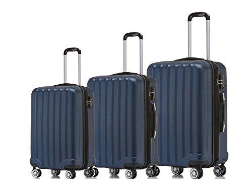 BEIBYE TSA-Schloß 2080 Hangepäck Zwillingsrollen neu Reisekoffer Koffer Trolley Hartschale Set-XL-L-M(Boardcase) in 12 Farben (Dunkelblau, 3tlg. Kofferset)