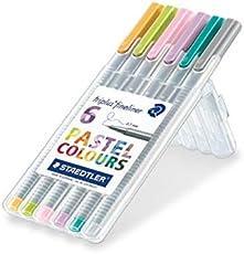 Staedtler 334 SB6CS1 triplus Fineliner Pastel Colours (ergonomischer Dreikantschaft, auswaschbar, Strichbreite 0,3 mm, 6 farblich sortierte Fineliner in Pastellfarben, aufstellbare Staedtler Box)