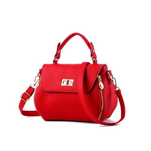 Emotionlin Delle Donne Impressionabili Bowknot Stile Progettista Cowry Spalla Borsa Top Handle Bag(Red)