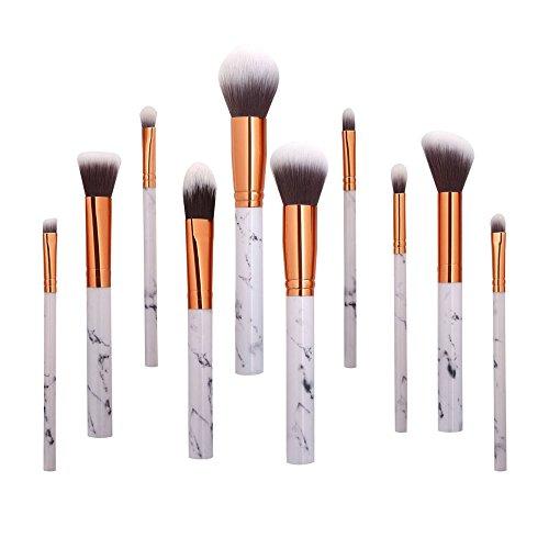 Kit Pinceaux Maquillage Professionnel (Fibre synthétique douce pour application uniforme de blush, crèmes, liquides, poudres & contouring) Makeup Brushes-10pcs