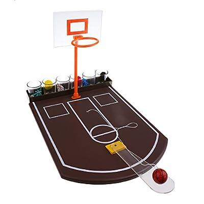 MagiDeal Jeux à Boire - Mini Basketball de Table - Jeu de Verre avec 6 Verres pour Fêtes, Soirées, Bar , Jeu de Table