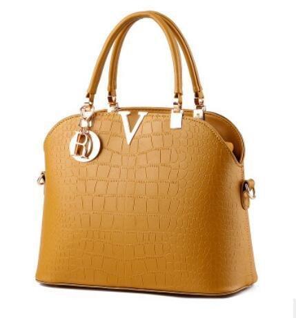 LDMB Damen-handtaschen PU Leder süße Lady Stereotypen Schale Tasche Schulter Messenger Handtasche Khaki