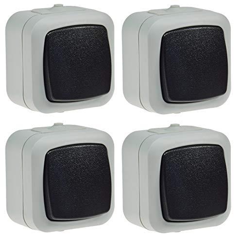 Wechsel Schalter Feuchtraum IP44 Aufputz 250V 10A Schaltelement in geschütztem Gehäuse mit Wippe Grau (4 Stück) -