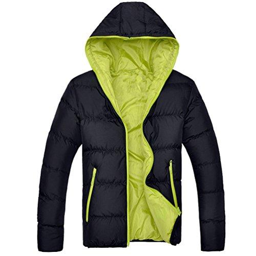 Yuandian uomo inverno taglie forti giù cotone imbottito cappotto con cappuccio addensare caldo impermeabile antivento tasche con zip trapuntato piumino giaccone giubbino nero+verde 4xl