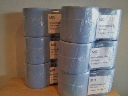 Putztuchrolle Putzrolle Putztuch Putzpapier 10 Rollen von MD 5000 Blatt