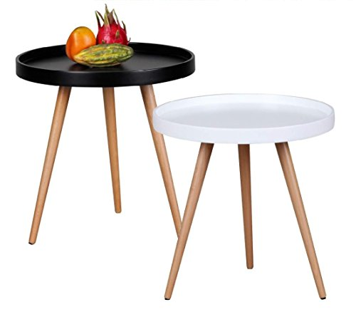 Design-Couchtisch-SKANDI--50-cm-x-50-cm-Form-Rund-Skandinavischer-Retro-Look-Matt-Lackierter-Wohnzimmertisch-mit-Holz-Gestell-Wohnzimmer-Mbel-Tisch-Dreibein-Beistelltisch-Farbe-Schwarz