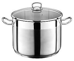 10 Liter Kochtopf mit Glasdeckel Suppentopf Topf Eintopf Universaltopf Silber INDUKTION (10 Liter) von Liivo