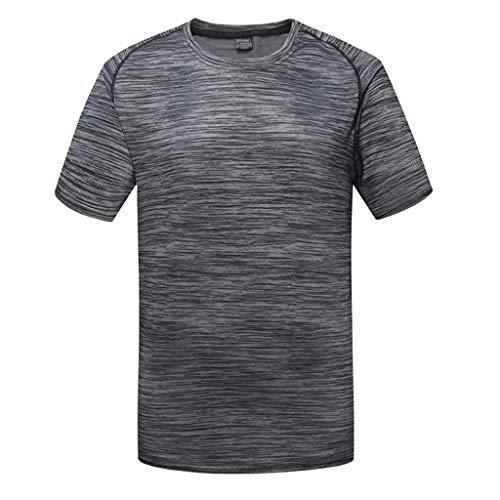 Shangqi Herren T-Shirt atmungsaktives Sportshirt kurzärmliges und schnelltrocknendes Trainingsshirt mit enganliegender Passform T-Shirt atmungsaktiv Trainingsshirt Kurze Ärmel Herren Fitnessshirt -