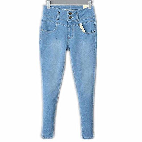 Wgwioo Jeans Skinny Pants En Détresse Déchiré Pocket Slim Classique Bouton Longue Lâche De Couleur Unie Casual Femmes Light Blue