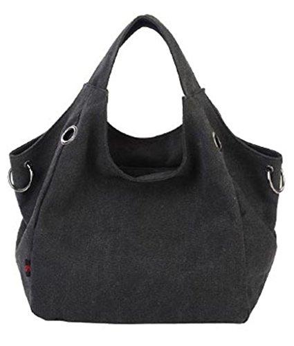 Auspicious beginning Einfache reine Farbe Leinwand Art beiläufige einzelne Umhängetasche grau Handtasche Schwarz