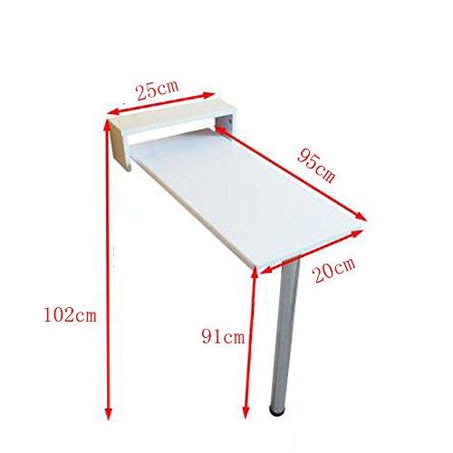 ZR-Tavolo da Parete Tavolo Pieghevole a Muro a ribalta, Tavolo da Cucina in Legno e Tavolo da Pranzo, 9 Dimensioni Bianco -Salva Lo Spazio (Dimensioni : 95 * 20 * 91cm)