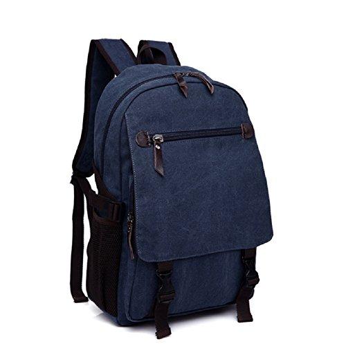LF&F backpack16-35L Kapazität Leinwand College-Student Tasche Computer-Tasche Reise Casual Rucksack Paar Entertainment Rucksack Multifunktions Camping leichte Rucksack Dark Blue