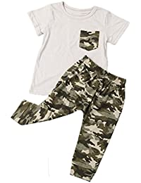 SMARTLADY Verano bebé Niño Tops Camiseta y Pantalones de camuflaje
