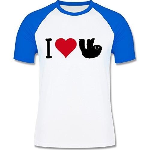 Tiermotive - I love Faultiere - L140 - Raglan Männer Herren T-Shirt mit Kontrastärmeln und Rundhalsausschnitt Weiß/Royalblau