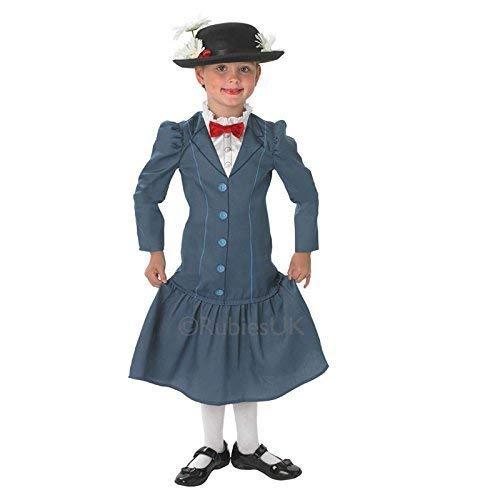 Mädchen Disney Mary Poppins Rubies Neu Nanny Kinder Outfit Kleid & Hut Kostüm - S - 98-104