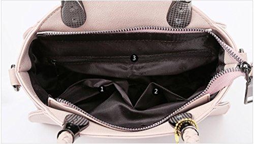 Longzibog Dual verstellbare Schultergurte und H?ngeschlaufenband Mode Simple Style Fashion Tote Top Handle Schulter Umh?ngetasche Satchel Grau