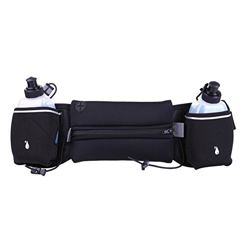 Black : Fastar Running Belt with 2 Water Bottles Sports Waist Bag Mobile Phone Pocket Walking Bags with Adjustable Belt for Fitness Training,Hiking,Other Outdoor Activities