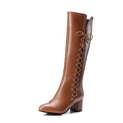 Zip Tallone Materiale Solido Marroni Morbido Stivali Colore Di Per Ha Voguezone009 Destro Donna 86nqI081