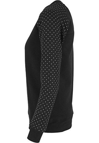 Urban Classics Damen Pullover Pullover Cross Quilt Raglan Crew schwarz/weiß