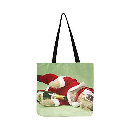 Kostüm Santa Boy - Samll Dog Santa Kostüm Liegen Leinwand Tote Handtasche Umhängetasche Crossbody Taschen Geldbörsen Für Männer Und Frauen Einkaufstasche