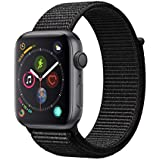 Apple Watch Series 4 (GPS) 44 mm Aluminiumgehäuse, Space Grau, mit Sport Loop, Schwarz