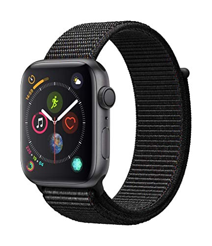Apple Watch Series 4 (GPS) 44mm Aluminiumgehäuse, Space Grau, mit Sport Loop, Schwarz