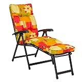 Deckchair LENA 02011-03, grün-rot, Dekor, Relaxliege mit Auflage, klappbar, LILIMO ®