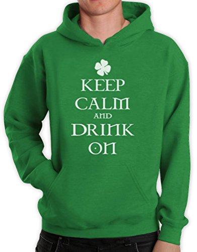 Keep Calm and On Grün X-Large Kapuzenpullover Hoodie -