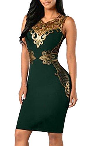 Donna Vestiti Bodycon Cocktail Vestito Abiti Dress Abito Sexy V Collo Moda Sottile Stampato Vestitino Verde scuro