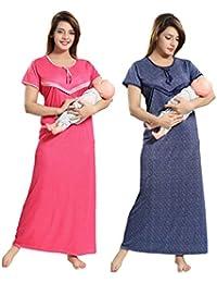 TUCUTE Women Beautiful Polka Dotts Print + Denim Base Print with V Pattern  Feeding Maternity Nursing Nighty Night Gown Night… 221cc7885