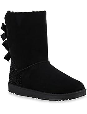 Damen Schlupfstiefel Warm Gefütterte Stiefel Stiefeletten Winter Boots Bommel Pailletten Glitzer Snake Print Schuhe...