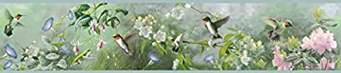 Chesapeake HTM48531B Ruby Green Hummingbird Garden Wallpaper Border by